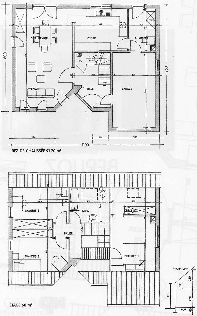 Plan de maison entreprise de construction sur namur et for Plan maison construction